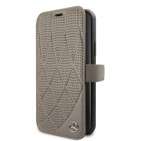 Чехол Mercedes-Benz для iPhone 11 Bow Quilted/perforated Booktype Leather Brown