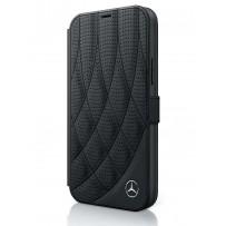 Чехол Mercedes-Benz для iPhone 12 Pro Max (6.7) Genuine leather Bow Quilted/perforated Booktype Black (MEFLBKP12LDIQBK)