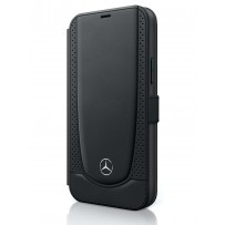 Чехол Mercedes-Benz для iPhone 12/12 Pro (6.1) Genuine leather Urban Smooth/perforated Booktype Black (MEFLBKP12MARMBK)