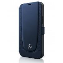 Чехол Mercedes-Benz для iPhone 12/12 Pro (6.1) Genuine leather Urban Smooth/perforated Booktype Navy (MEFLBKP12MARMNA)