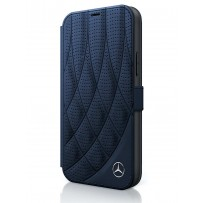 Чехол Mercedes-Benz для iPhone 12/12 Pro (6.1) Genuine leather Bow Quilted/perforated Booktype Navy (MEFLBKP12MDIQNA)