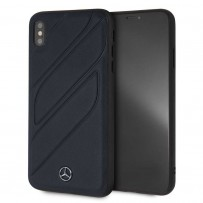 Чехол Mercedes-Benz для iPhone XS Max New Organic I Hard Leather Blue