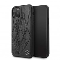 Чехол Mercedes-Benz для iPhone 11 Pro Bow Quilted/perforated Hard Leather Black