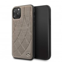 Чехол Mercedes-Benz для iPhone 11 Pro Bow Quilted/perforated Hard Leather Brown