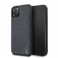 Чехол Mercedes-Benz для iPhone 11 Pro Bow Quilted/perforated Hard Leather Blue