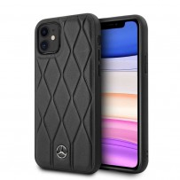 Чехол Mercedes-Benz для iPhone 11 Wave Quilted Hard Leather Black
