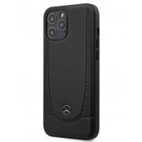 Чехол Mercedes-Benz для iPhone 12 Pro Max (6.7) Genuine leather Urban Smooth/perforated Hard Black (MEHCP12LARMBK)