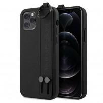 Чехол Mercedes-Benz для iPhone 12 Pro Max (6.7) Genuine Leather with Hand Strap Hard Black (MEHCP12LLSSBK)