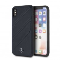 Чехол Mercedes-Benz для iPhone X/XS New Organic I Hard Leather Blue Abyss