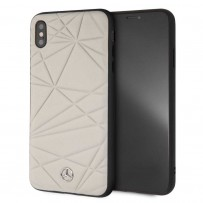 Чехол Mercedes-Benz для iPhone XS Max Twister Hard Leather Grey