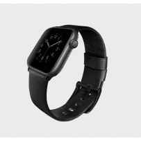 Ремешок Uniq для Apple Watch 1/2/3/4/5 38мм/ 40мм ремешок Mondain Strap Leather Black, (натуральная кожа)