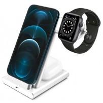 Беспроводная зарядка 3-в-1 COTEetCI CS5700 Aluminium (iPhone+Apple Watch+AirPods), серебро