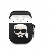 Чехол Karl Lagerfeld для Airpods Silicone case with ring Black