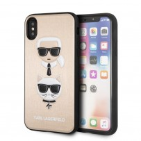 Чехол Karl Lagerfeld для iPhone X/XS PU Leather Karl and Choupette Hard Gold