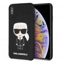 Чехол Karl Lagerfeld для iPhone XS Max Liquid silicone Iconic Karl Hard Black