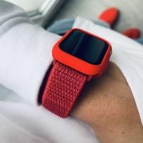 Комплект красный: ремешок для Apple Watch 42мм/ 44мм + чехол