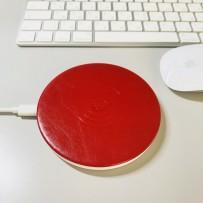 Беспроводное зарядное устройство i-Carer (5-9V-2A) Microfiber Leather Fast Wireless Charging (QX100-IWXC003red) Красный