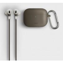Чехол Uniq для Airpods Pro Vencer Hang case с карабином и шнурком Beige, силиконовый
