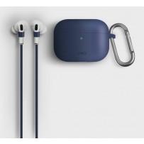 Чехол Uniq для Airpods Pro Vencer Hang case с карабином и шнурком Navy blue, силиконовый
