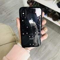 """Накладка силиконовая Beckberg Monsoon series для iPhone XS/ X (5.8"""") со стразами Swarovski вид 1 Черный"""