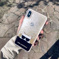 Чехол Karl Lagerfeld для iPhone XS Max Liquid glitter Choupette sunglasses Hard Transp/Gold