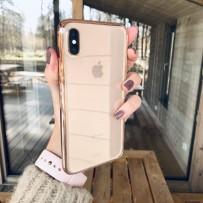 Идеальный противоударный чехол для золотого iPhone XS Max, прозрачный с золотым кантом