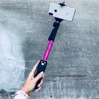 Монопод для селфи Yunteng Self Picture Monopod (Bluetooth) Pink YT-1288, со сьемным фотопультом, 425-1250mm