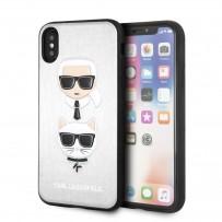 Чехол кожаный KARL Lagerfeld для iPhone XS/X, Карл Лагерфельд и Шупетт (изображение 3D), серебро