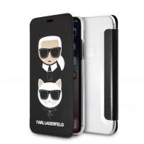 Чехол-книжка KARL Lagerfeld для iPhone XS/X, Карл Лагерфельд и Шупетт (изображение 3D), черный