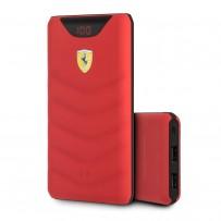 Аккумулятор внешний универсальный Ferrari Wireless 10000 mAh, LED-индикатор, 2 USB Rubber Red, красный