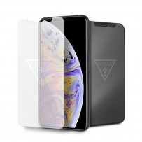 Стекло защитное Guess для iPhone XS Max Tempered glass Silver logo, (не оставляет отпечатки пальцев)
