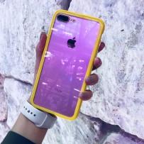 """Чехол """"Магнитный с закаленным стеклом"""" для iPhone 7/8 PLUS, лимонный  (борт из ударопрочного пластика, 24 магнита)"""