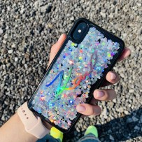 Чехол Karl Lagerfeld для iPhone XS Max Liquid glitter Karl signature Hard Sequins Iridiscent Black