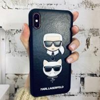 Чехол кожаный KARL Lagerfeld для iPhone XS/ X, Карл Лагерфельд и Шупетт (изображение 3D), черный