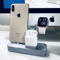 Док-станция COTEetCI Base19 Dock 3in1 stand для Apple Watch & iPhone 11/ 11 Pro/ 11 Pro Max/ XS/ X/ 8/7 Plus/ 8/ & AirPods CS7201-GY (Серый Космос) Графитовая