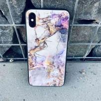 Чехол - мрамор для iPhone XS MAX, закаленное стекло