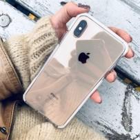 Противоударный чехол-лёд для iPhone XS Max, кристально-прозрачный, с белым кантом