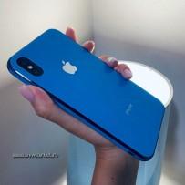 """Чехол """"Закаленное стекло"""" для iPhone ХS/ X, синий, противоударный борт"""