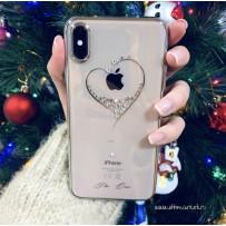 """Чехол """"Glitter Heart"""" для iPhone XS Max, украшенный стразами Сваровски, серебристый"""