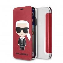 Чехол-книжка KARL Lagerfeld для iPhone XS/X, Карл Лагерфельд и Шупетт (изображение 3D), красный