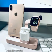 Док-станция COTEetCI Base19 Dock 3in1 stand для Apple Watch iPhone 11/ 11 Pro/ 11 Pro Max/ XS/ X/ 8/7 Plus/ 8/ & AirPods CS7201-MRG Розовое золото