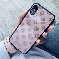 Чехол Guess для iPhone X/XS Double layer 4G Peony Hard Glitter Light pink