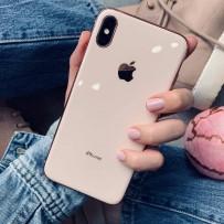 """Чехол """"Закаленное стекло"""" для iPhone XS MAX, пудровый (с розовым кантом)"""