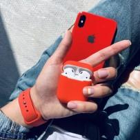 """Комплект: чехол стеклянный """"Закаленное стекло"""" для iPhone XS MAX, красный + ремешок soft-touch для Apple Watch 44мм/ 42мм + чехол для AirPods 1/2"""