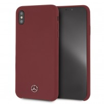 Чехол Mercedes для iPhone X/XS Silicone line Hard Red