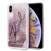 """Противоударный чехол """"Переливающийся Блеск"""" KARL Lagerfeld, для iPhone XS Max, звездная роспись, розовое золото"""