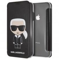 Чехол-книжка KARL Lagerfeld для iPhone XS Max, Карл Лагерфельд (изображение 3D), черный