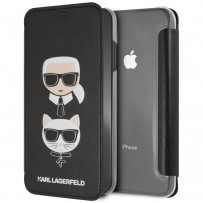 Чехол-книжка KARL Lagerfeld для iPhone XS Max, Карл Лагерфельд и Шупетт (изображение 3D), черный
