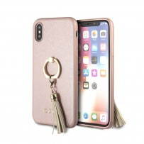 Чехол Guess для iPhone X/XS Saffiano Hard PU + Ring Pink