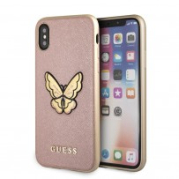 Чехол Guess для iPhone X/XS Patch Butterfly collection Saffiano Hard Rose